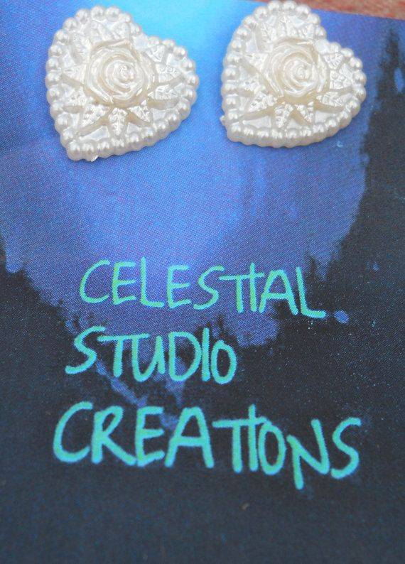 Elegant mother of pearl heart shaped earrings by CelestialStudio13, $12.32