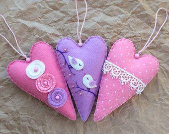 Conjunto de 4 fieltro corazón ornamentos la por HandmadeByHelga