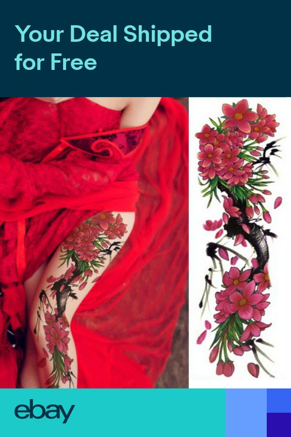 Flowers Hawaii Realistic Big Full Arm Temporary Tattoo Sleeve For