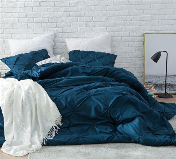 Nightfall Navy Pin Tuck King Comforter - Oversized King XL Bedding