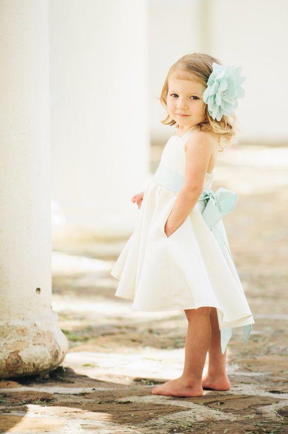 Ivory Flower Girl Dress / Sweetheart Neckline / Custom Color Sash & Flower / Mint, Peach, Seafoam, Coral
