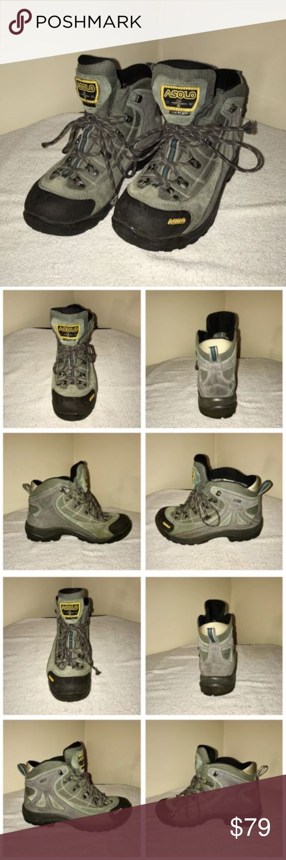 Women's ASOLO FSN 70 GTX Hiking Boots Description    Size: 7.5 (US)  Color: Green, Gray and Black  Tag Measurements- 7.5 US  Condition: Excellent  Features: Some light wear, but in overall excellent condition. Minimal tread wear. Asolo Shoes Winter & Rain Boots