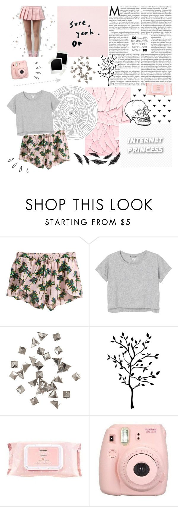 """i'm grown now"" by lucidmoon ❤ liked on Polyvore featuring H&M, Monki, RoomMates Decor, Mamonde, Fujifilm and Old Navy"