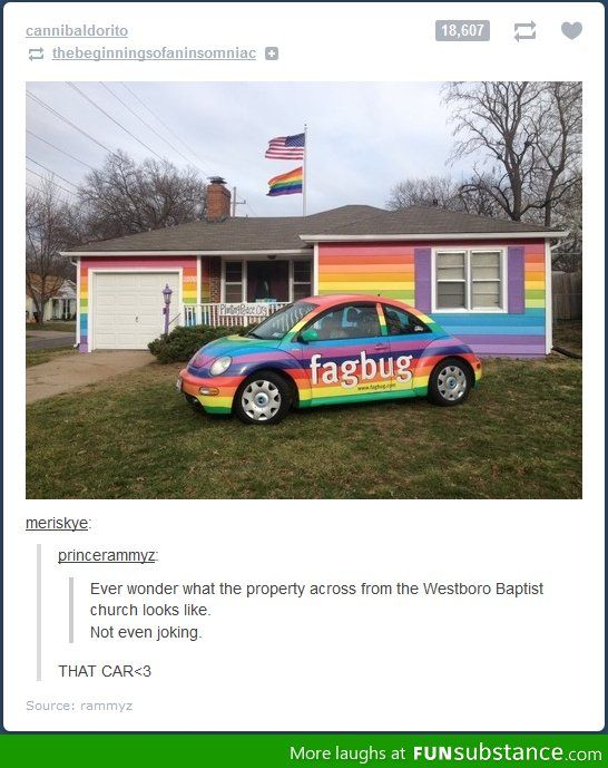 There is a documentary about the owner of that Volkswagon entitled 'Fagbug'. You can find it on Netflix. (: