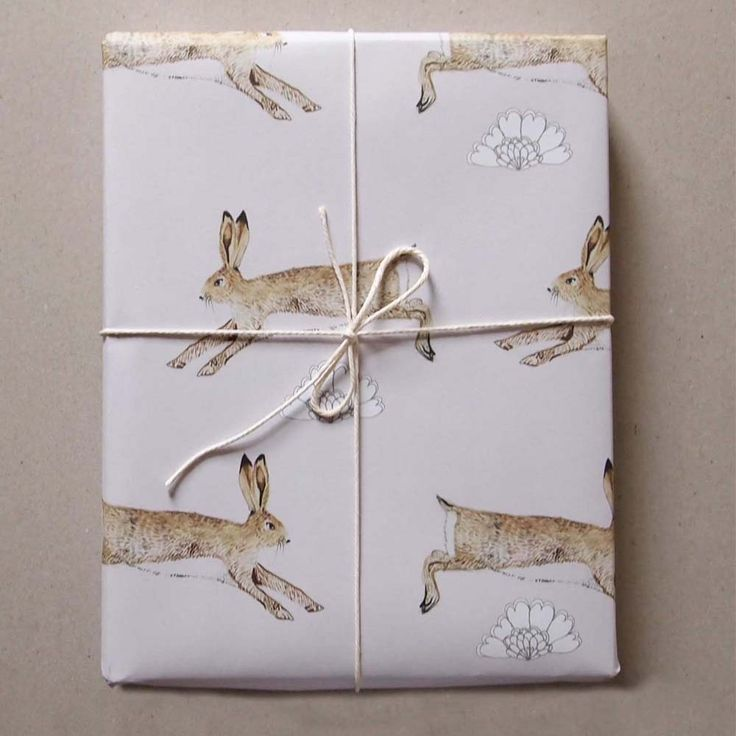 Leaping Hares wrapping paper