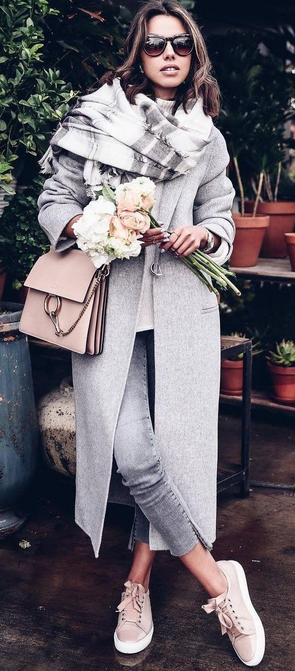 fashionable look scarf + coat + bag + pants + sneakers