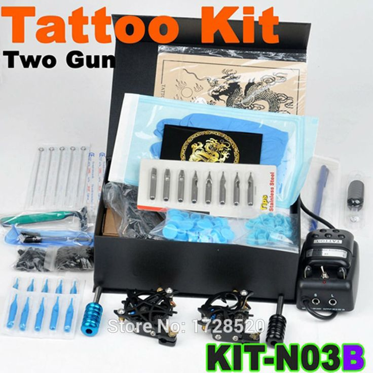 2015 Best Selling High Quality Beginner tattoo starter kits 2 guns Machine Power Supply gun Numb Inks Wholesale