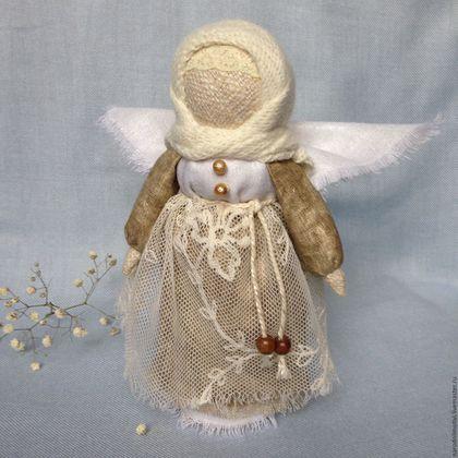 Кукла Ангел, народные обереги, куклы-обереги, ангел-хранитель, оберег для дома, оберег для семьи, подарок на свадьбу, подарок на Рождество, серебристый, золотой, коричневый, бежевый.