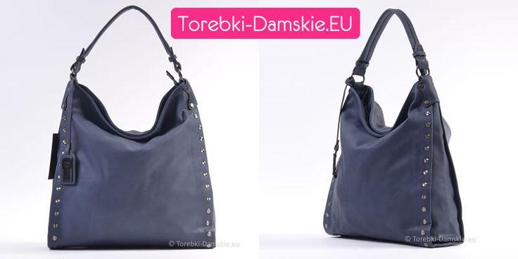 Granatowa torebka damska z ozdobnymi nitami. Bardzo pojemna (38 x 40 cm), piękny głęboki odcień ciemnoniebieski. #torebki #handbag #handbags
