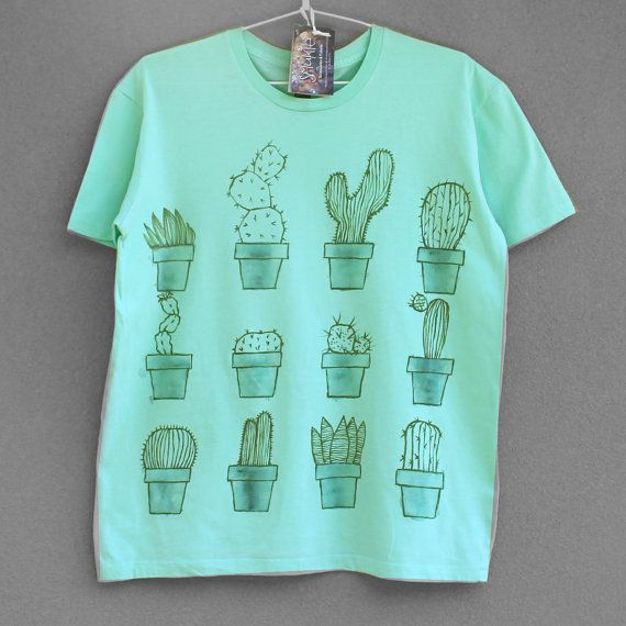 CACTUS. 100% cotton T shirt. Hand painted. Mint green tshirt. Cactus tee. Unique t shirts. Nice tees.