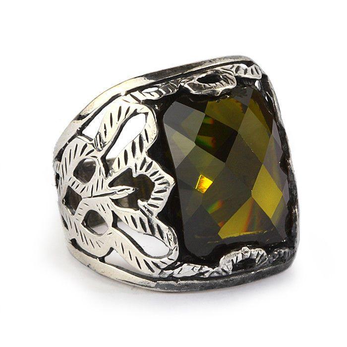 Man Ring 925 Silver,Green Tourmaline Men's Gemstone Jewelry #IstanbulJewellery #Statement
