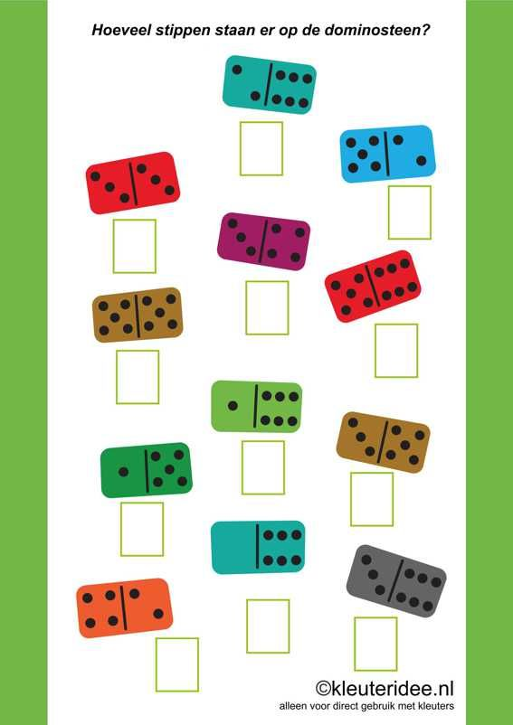 Hoeveel stippen staan er op de dominosteen 2, kleuteridee ,how many dots are there on the domino, free printable.