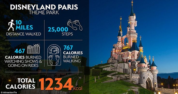 Head to attractions including Disneyland Paris, and you'll be so distracted you won't even notice you've burned upwards of 1,000 calories