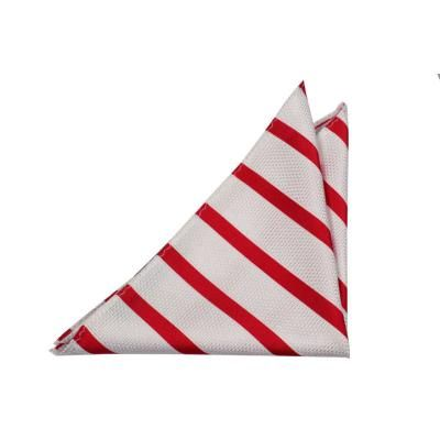 $13, Notch Silk Handkerchief Anton Striped Pattern In White And Red. Sold by Tieroom. Click for more info: https://lookastic.com/men/shop_items/92804/redirect