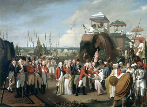 """""""The Reception of the Mysorean Hostage Princes by Marquis Cornwallis"""" by Robert Home (1793) at the National Army Museum, London - From the curators' comments: """"During the 3rd Mysore War (1790-1792), a British force under Lieutenant-General Lord Cornwallis, Governor-General of India, besieged Tipu Sultan, ruler of Mysore, in his fortified island capital of Seringapatam. Tipu eventually made peace by ceding a large part of his dominions and a substantial financial settlement to the British."""""""