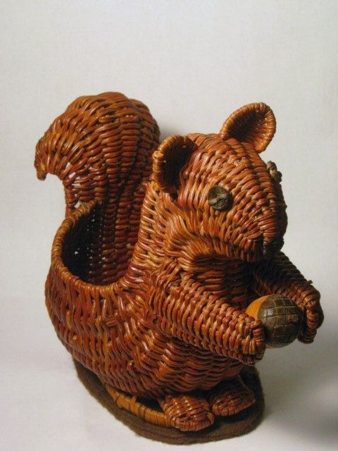 Vintage 1980s Squirrel and Acorn Fall Harvest Wicker Basket Planter figurine Nut…