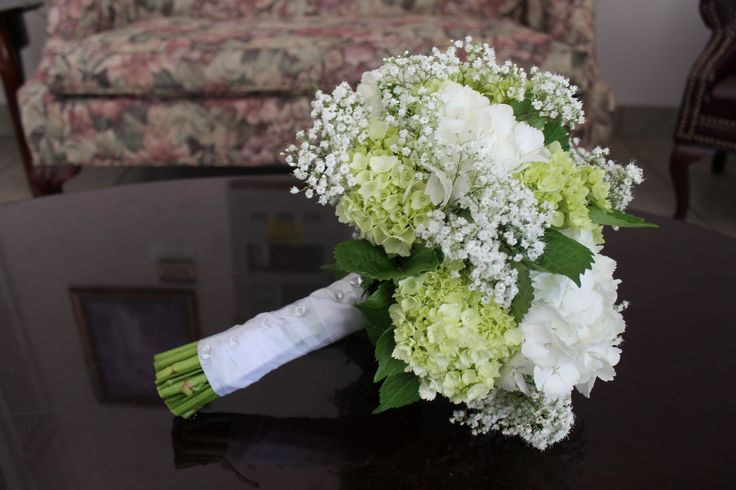 White Hydrangea, Mini Green Hydrangea, and Babies Breath