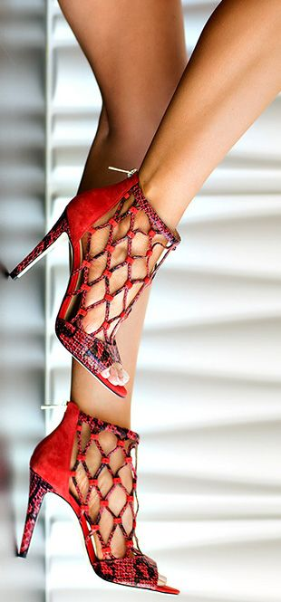 Amazing red high heels with unusual forepart. Top 10 shoes ideas for fall 2015.