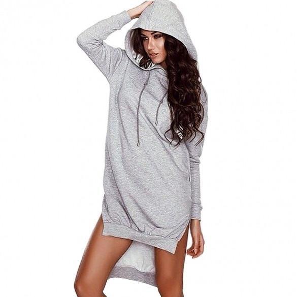 Casual Women Fashion Long Sleeve Side Split Irregular Hem Hoodies
