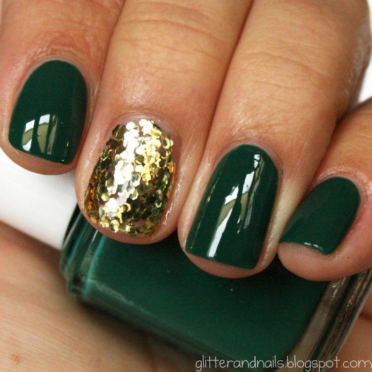 St. Patty's Mani: Gold Glitter, Milani Gold, Gold Nails, Christmas Nails, Nails Polish, Green And Gold, Gold Christmas, Green Nails, Holidays Nails