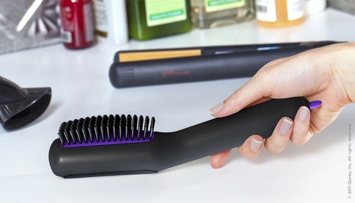 Hairbrush with storage built in!  genius!!  Too bad this isn't on the market yet.  :oP