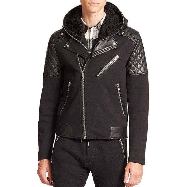 The Kooples SPORT Mixed-Media Hooded Moto Jacket ($815) ❤ liked on Polyvore featuring men's fashion, men's clothing, men's outerwear, men's jackets, apparel & accessories, black, mens faux fur hooded jacket, mens faux leather motorcycle jacket, mens leather biker jacket and mens fur lined leather jacket