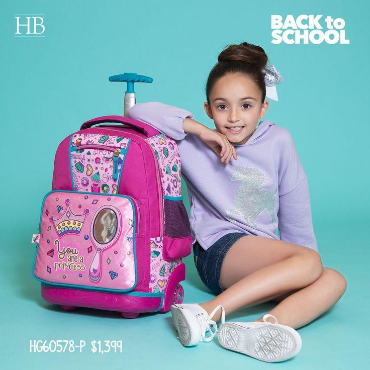 Happy girl 👧🌸  mochila con ruedas modelo HG60578-P 📚🎒  temporada #EscolarHB 🎒✏️  Más información en http://hbhandbags.com.mx/escolar/ y al 📞 018004263224 #BTS 2017