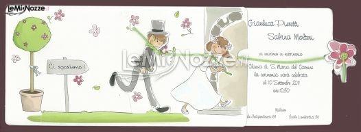 http://www.lemienozze.it/operatori-matrimonio/partecipazioni_e_tableau/tipografia_salassa/media/foto/3  Partecipazione di matrimonio con disegnini divertenti