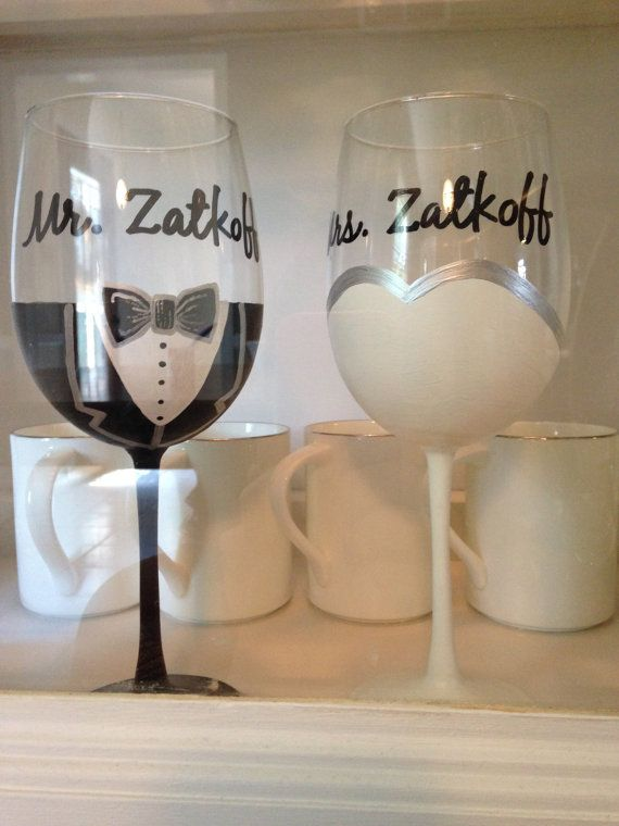 Hand painted bride and groom wine glass set on Etsy, $35.00