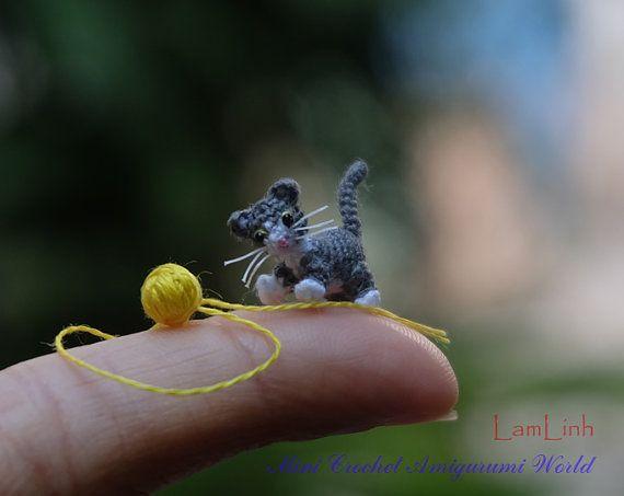 05 pulgadas micro crochet color blanco gatito gato por LamLinh
