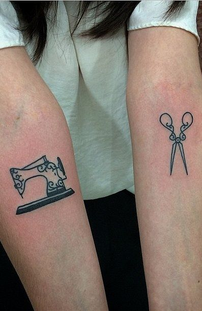 33 Real Fashion Tattoos That Will Inspire Your Next Ink: Sewing machine and scissors