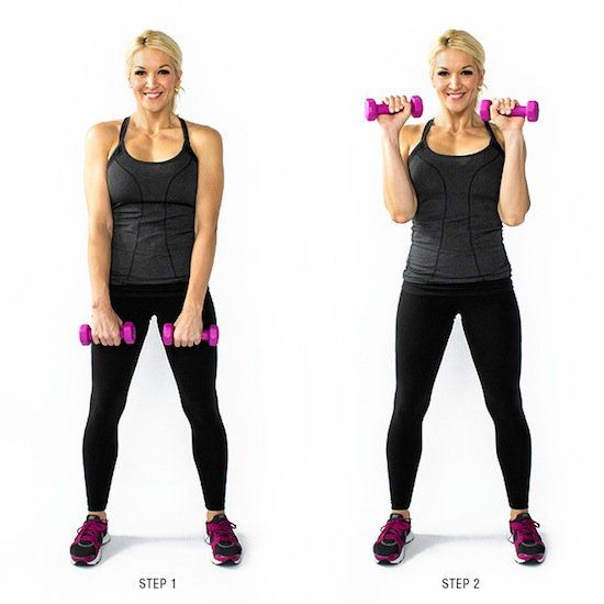 17 Free Weight Exercises for Toned Arms - Reverse Bicep Curl. Lighten up your weights from your standard curl to tone the backs of your forearms & biceps.