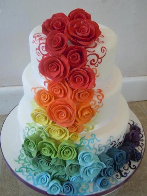 Wedding Cake that Makes Me Think of Tie Dye...