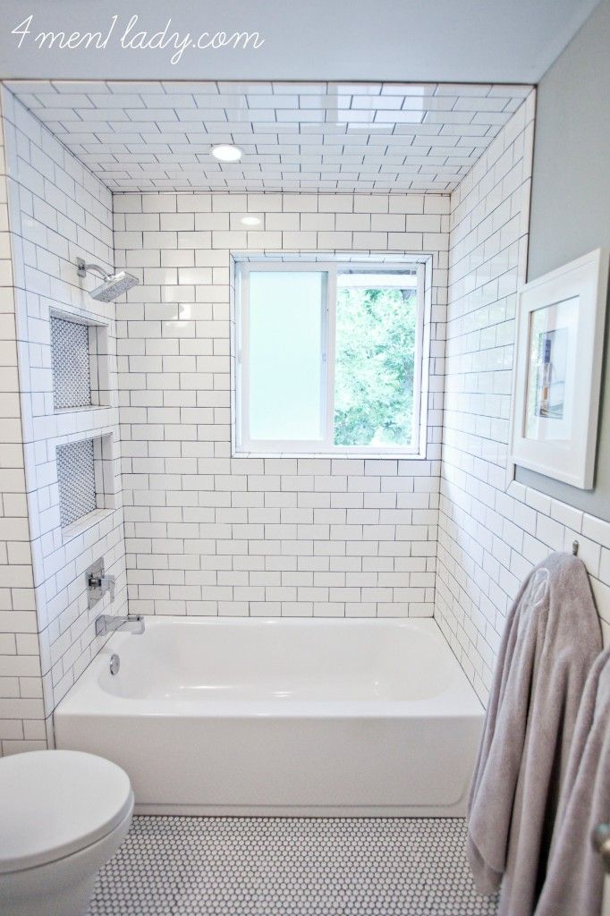 4 Men 1 Lady, White Subway Tile With Charcoal Grout. Use Silicon Grout B