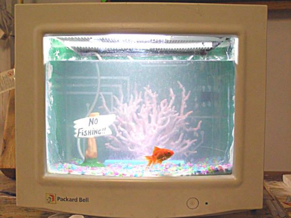 Turn Your Old CRT Computer Monitor Into A Fish Tank ! ! ! - very cool. Makes me wish I had an old CRT.