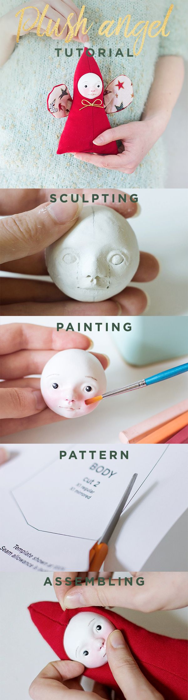 Doll making tutorial, soft toy patterns, angel sewing pattern, Christmas  pdf tutorial, art doll tutorial, Christmas crafts e-book