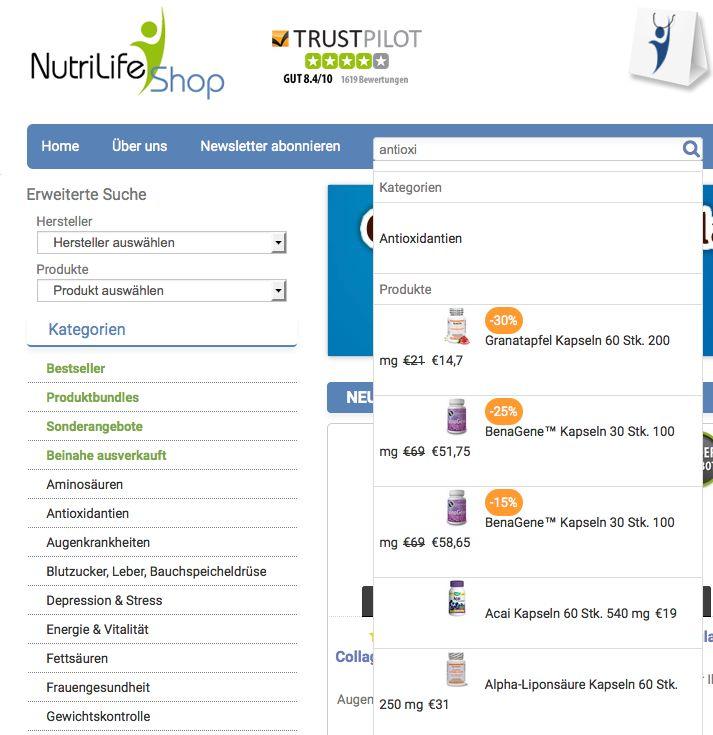 Nutrilife Shop - http://www.nutrilifeshop.com - utilise le moteur de searchandising Antidot AFS@Store pour ses sites marchands en France, Allemagne et Italie. L'intégration dans Magento a été réalisée par l'agence web Awevo - http://www.awevo.com.