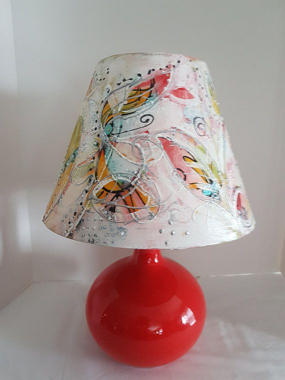 BoHo Hippy Bohemian Painted Lampshade on Original Mid Century Pottery Lamp Base Intuitive Free Spirit Painting OOAK