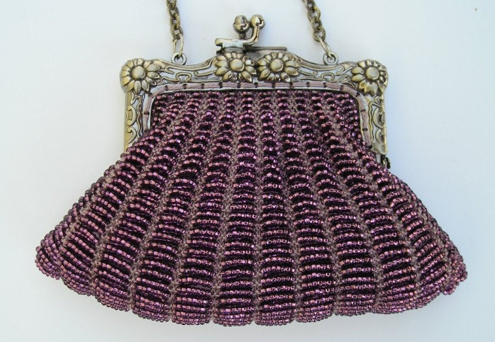 Beaded knitting kit, Danielle purse with purse frame, FULL SUPPLIES KIT with pattern. $30.00, via Etsy.