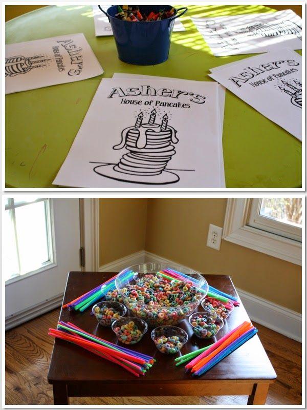 3rd Birthday, Pajamas & Pancakes, Pajamas, Pancakes, Birthday Party, Pajama & Pancake Party, Boys Pajama & Pancake Party, Party Activities, Coloring Station, Fruit Loop Necklace