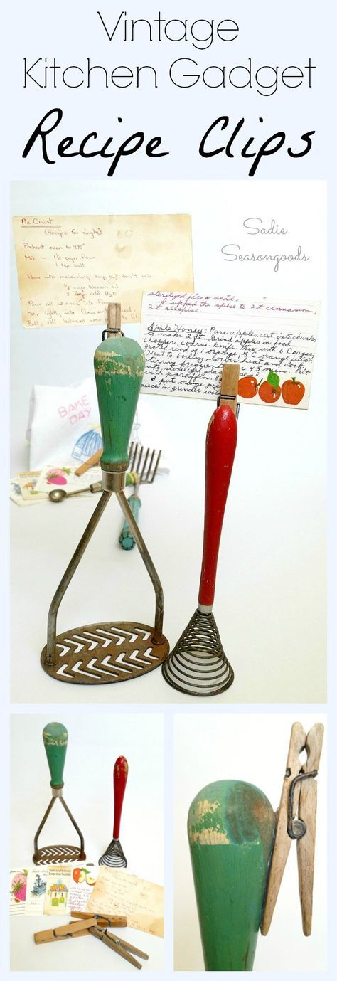 Create charming DIY recipe card holders by repurposing vintage kitchen gadgets (the ones that stand up on their own) and old wooden clothespins. Super easy to do, wonderfully functional when cooking/baking from recipe cards, and makes a great gift! Awesome, simple, and retro repurposing project from #SadieSeasongoods / www.sadieseasongoods.com