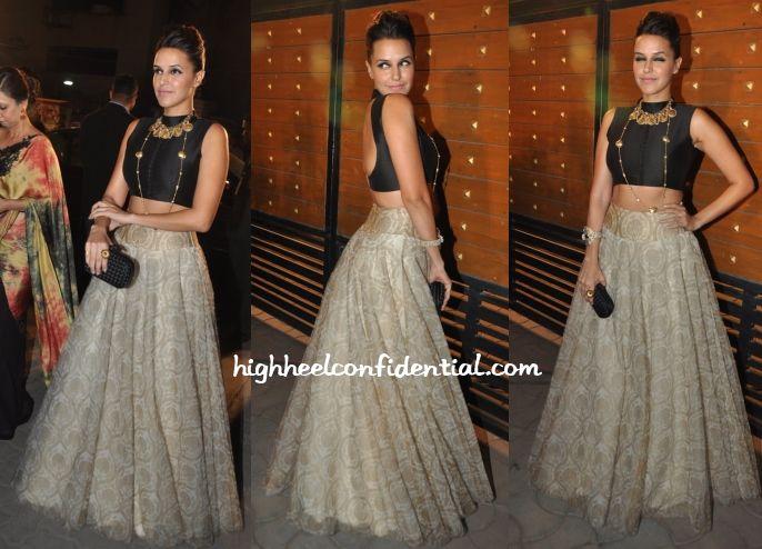Neha Dhupia In Payal Singhal black sleeveless blouse and Anju Modi lehenga skirt