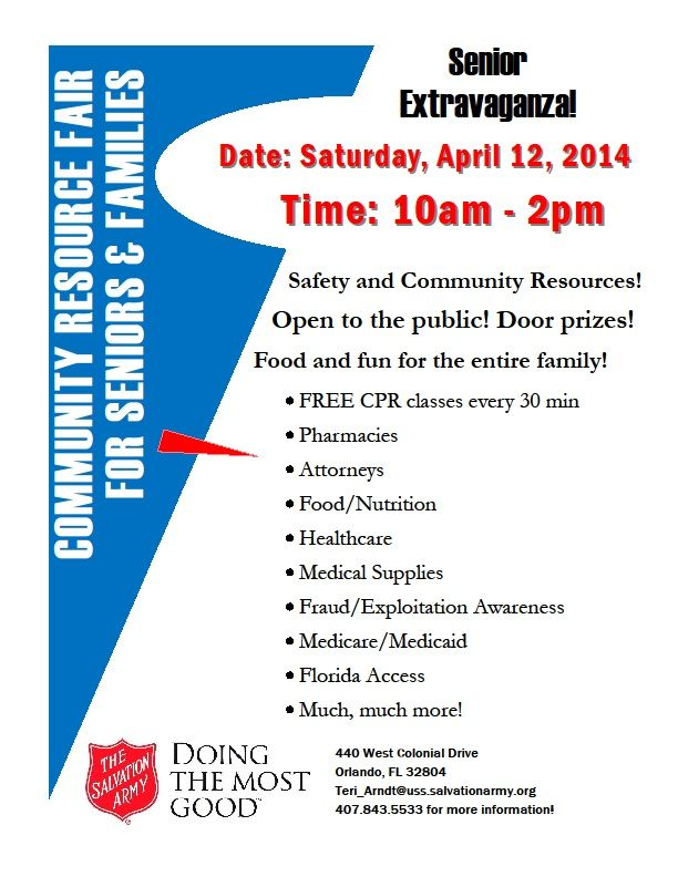 Community Resource Fair for Seniors and Families. Open to the public and includes FREE CPR classes. April 12, 10-2pm.