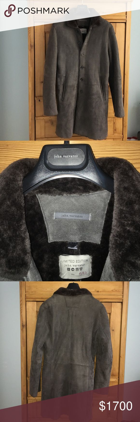 Men's gray 100% lamb shearling John Varvatos coat Men's gray 100% lamb shearling John Varvatos coat. NWOT. Limited-edition John Varvatos number 6/60 meaning only 60 were made. Size 48 fitted. 38 inch chest 36 inch waist 38 inch shoulder width 35 inches long 26 inch sleeve. Six buttons down front of coat. Beautiful. John Varvatos Jackets & Coats