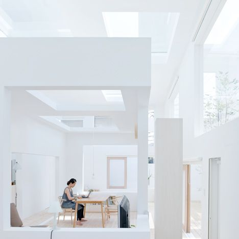 a house by Japanese architect Sou Fujimoto, where rectangular windows puncture three layers of walls and ceilings