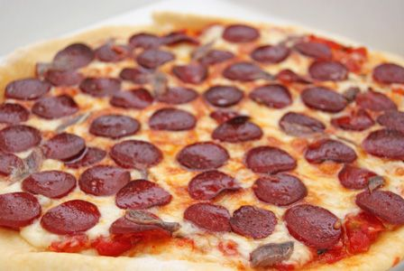 ビストロ・アニメシ ミュータント・タートルズ タートルズのピザ ニューヨークスタイルのピザ ペパロニピザ サラミの乗ったピザ