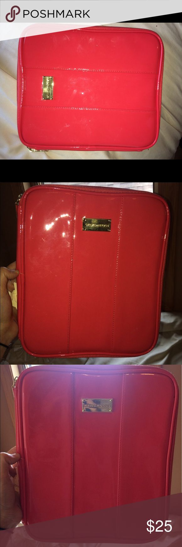 Steve Madden iPad Case- Coral Never used!  Designer iPad case. Super chic and stylish way to keep your iPad safe!  This zips easily, and has straps on the inside to help hold your iPad in place. There is also a pocket on the left inside sleeve to keep items. Steve Madden Accessories Laptop Cases