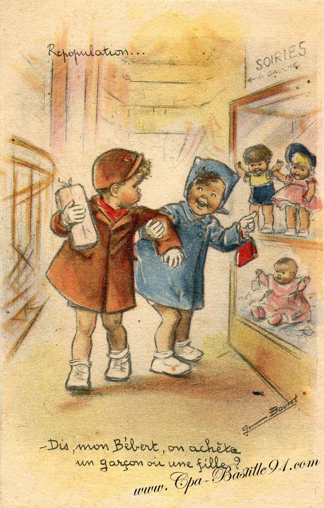 .- Dis, mon Bébert, on achète un garçon ou une fille?