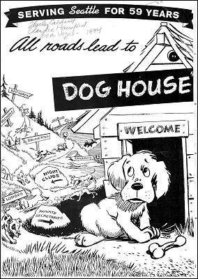 This was right behind my first studio on 7th Ave.  It's now the Hurricane Cafe.  I loved the Dog House.  A true Seattle icon.