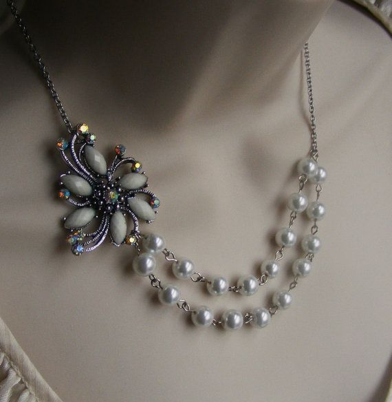 White Flower Brooch Bridal Necklace with by lakeshorecreations4u, $38.00